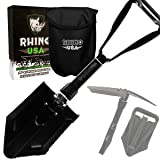 Rhino USA Folding Survival Shovel w/Pick - Heavy Duty Carbon Steel Military Style Entrenching Tool for Off Road, Camping, Gardening, Beach, Digging Dirt, Sand, Mud & Snow - Guaranteed for Life! (Color: Black)