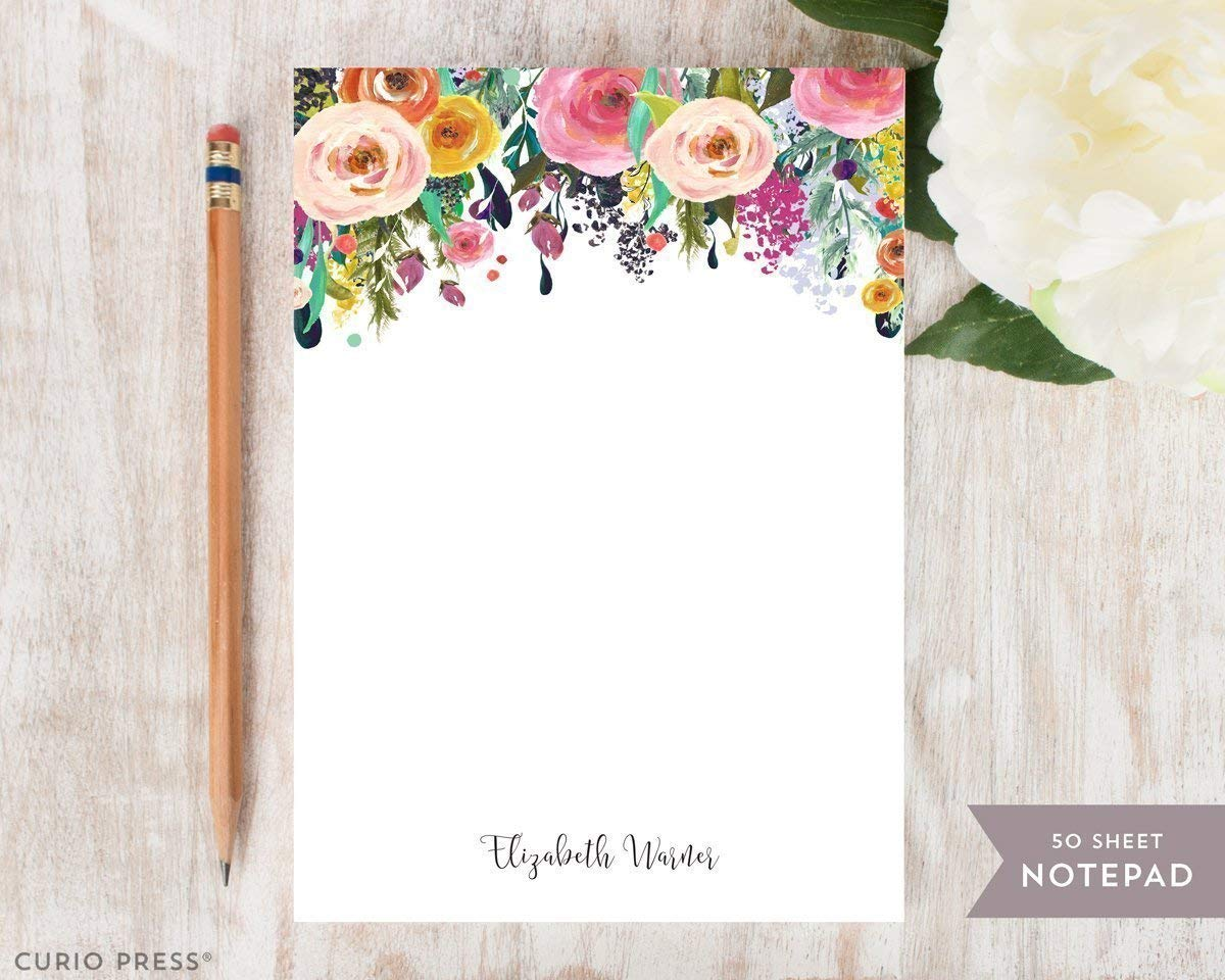 MULTI FLOWER NOTEPAD - Personalized Floral Stationery/Stationary Note Pad