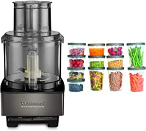 Cuisinart DFP14BKSY Custom 14-Cup Food Processor (Black Stainless) with 25-Piece Plastic Storage Containers Bundle (2 Items)