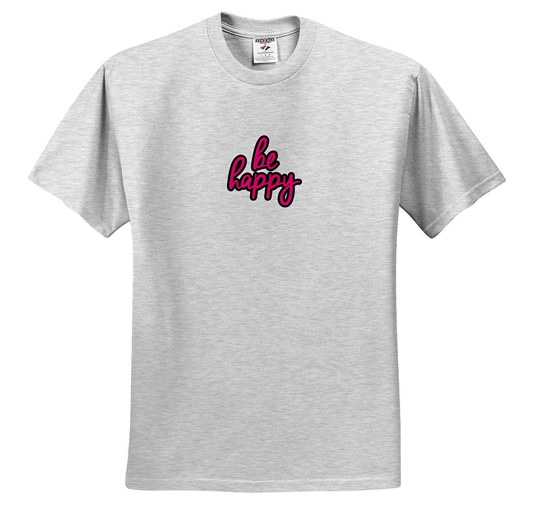 ts/_308815 3dRose EvaDane Motivational Sayings Adult T-Shirt XL Be Happy Pink