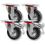 nirox 10316 Transportrollen Schwerlastrollen , Lenkrolle & Lenkrolle mit Bremse 75mm , Vollgummi , 4 Stück im Set