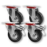 Transportrollen, Schwerlastrollen 4 Stück im Set / 2x Lenkrolle & 2x Lenkrolle mit Bremse / 75mm bis 200mm Durchmesser / Größe: 75mm