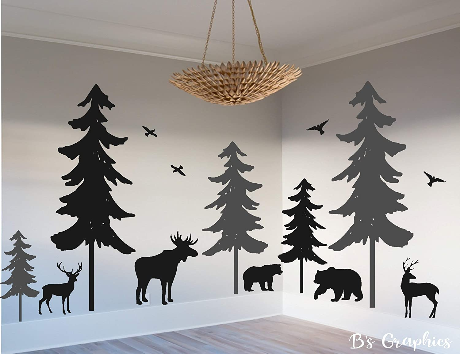 Forest Scene Decals DC01236 Woodland Wall Decals 6 trees Forest Mural Nursery Wall Decal, Pine Tree Forest Wall Decals