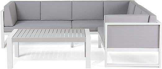 Salón de jardín – sofá D ángulo y Mesa Baja – Aluminio – Blanco y ...