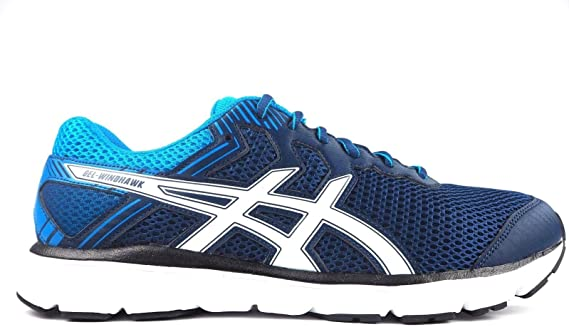 ASICS GEL-WINDHAWK (T62VQ) Zapatillas de running para hombre, Poseidon / White / Blue, UK 11.5 / EU 47 / US 12.5 / CM 30.0: Amazon.es: Deportes y aire libre