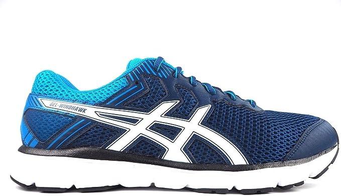 ASICS GEL-WINDHAWK (T62VQ) Zapatillas de running para hombre, Poseidon / White / Blue, UK 11.5 / EU 47 / US 12.5 / CM 30.0: Amazon.es: Deportes y aire libre