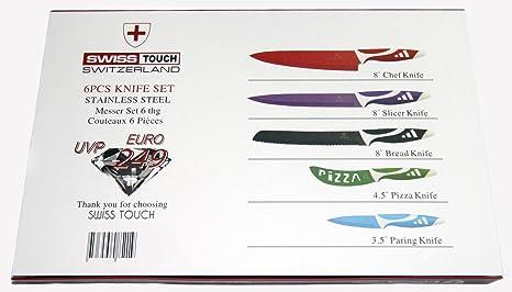 SWISS TOUCH. Set juego de cuchillos de cocina profesionales de acero inoxidable. 5 con pelador, revestimiento ceramico, antiadherentes: Amazon.es: Hogar