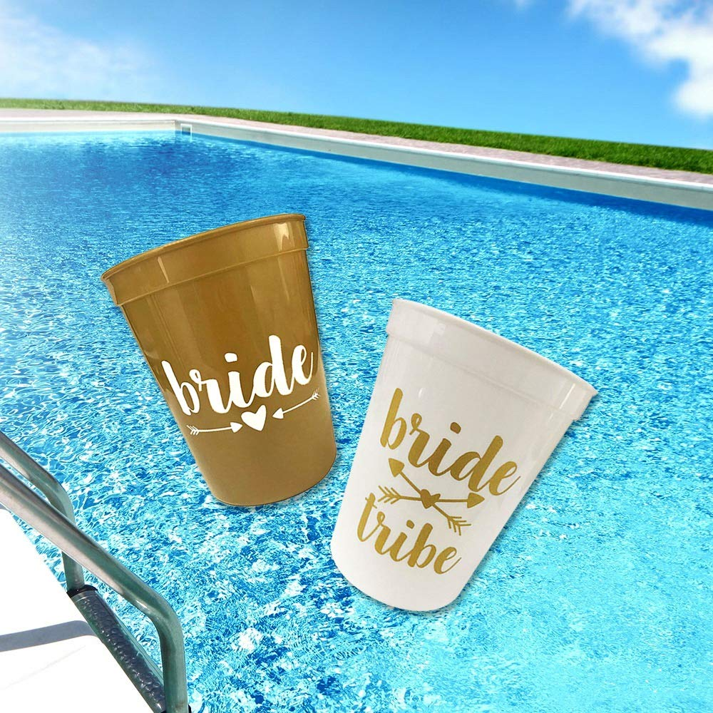 Bachelorette Party Cups,Bride Tribe, Team Bride Cups,16 oz- 12 Pack Cup Set for Weddings, Bridal Showers, Engagement Party Decoration & Bride to be Gift.(White & Metallic Gold).