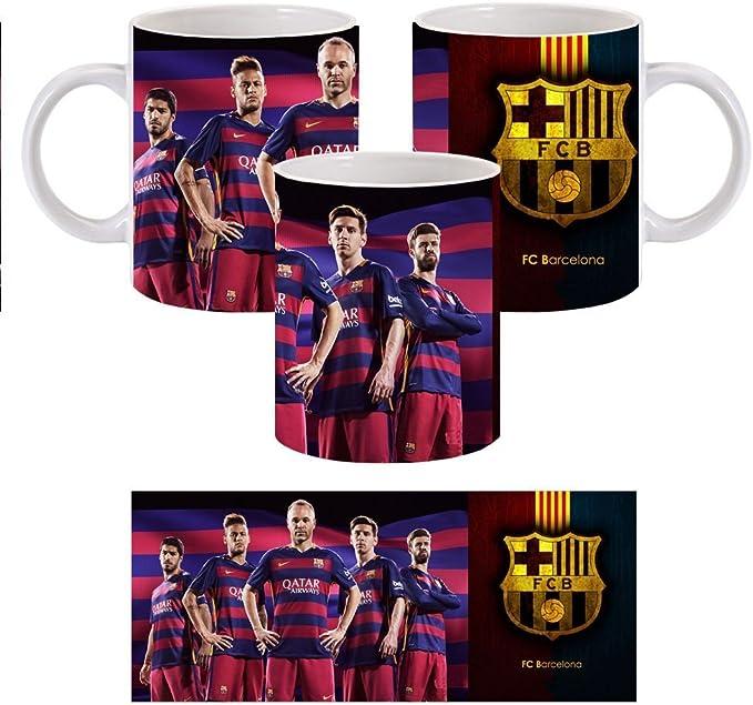 taza para desayuno cafe leche ceramica modelo barcelona futbol escudo regalo: Amazon.es: Electrónica