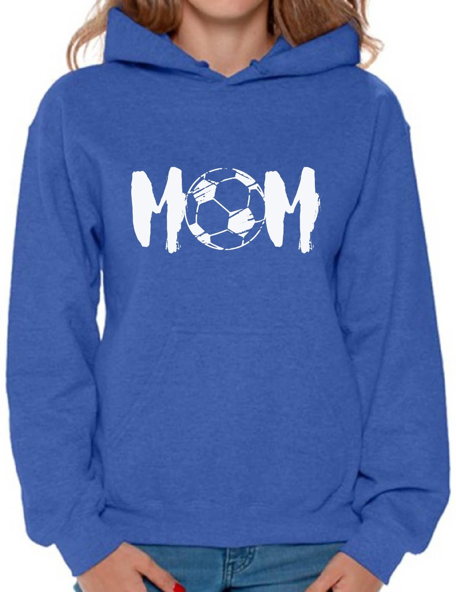 Awkward Styles Women's Soccer Mom Motherhood Graphic Hoodie Tops White Sport Mom Gift Idea Blue M