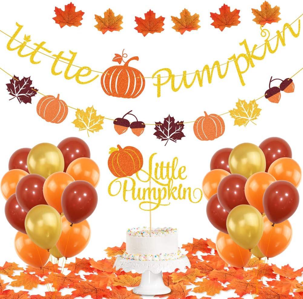 K KUMEED Little Pumpkin Party Decorations, Little Pumpkin Banner Fall Leaves Pumpkin Cake Topper Latex Balloons for Fall Theme Baby Shower Party Supplies