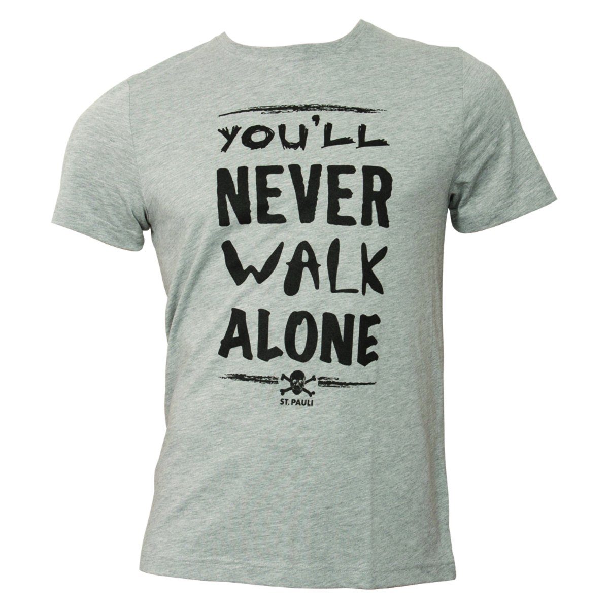 FC St. Pauli T Shirt You'll Never Walk Alone Grau Schwarz
