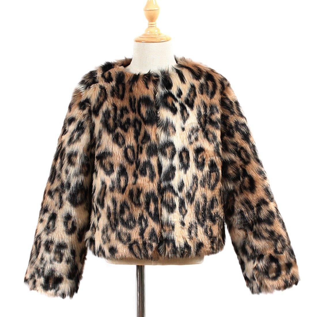 YYF Kinder Mädchen Wintermantel Faux Pelz Mantel Warm Winterjacke Kinderjacken Leopard Pelzjacke