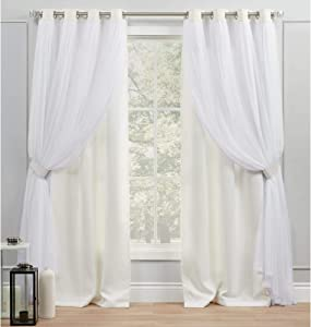 Exclusive Home Curtains Catarina Layered Solid Blackout and Sheer Grommet Top Curtain Panel Pair, 52x84, Vanilla