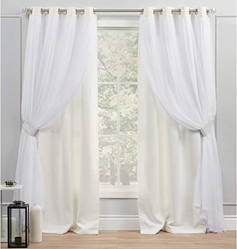 Exclusive Home Curtains Catarina Layered Solid Blackout and Sheer Grommet Top Curtain Panel Pair - the best window curtain panel for the money