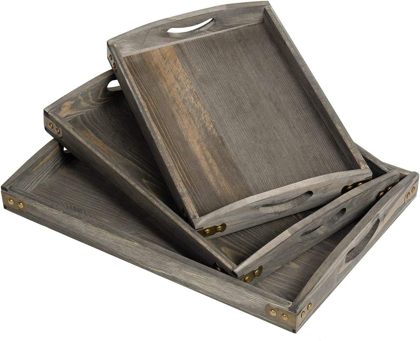 VERGOODR Country Rustic Wood Nesting Dinning Breakfast Serving Trays with Wood Handles, Set of 3,Can Put Food, Fruit, Plates (Rock Grey)