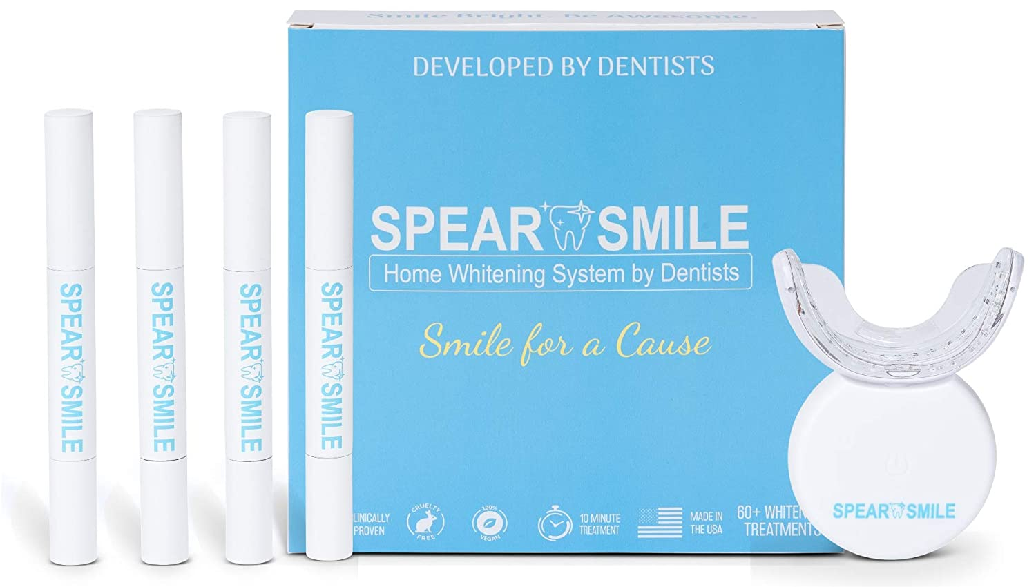 Spear Smile Luxury Home Teeth Whitening Kit, 32X LED Professional light for Whiter Teeth Without Sensitivity, Includes 4 Deluxe Teeth Whitening Pens, 60 Whitening Treatments, Teeth Whitening System