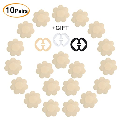 f1376eea5f68c Image Unavailable. Image not available for. Color  Daisyformals 10 Pairs  Pasties Satin Nipple Cover Stickers Disposable Breast ...