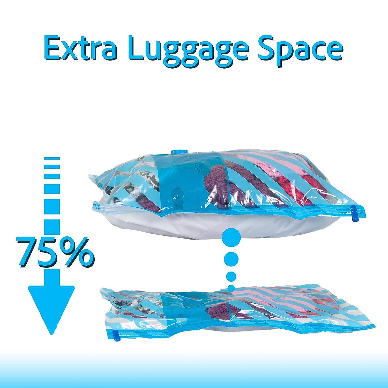 platzsparender Reisetaschen Packen Sie mehr in Ihren Koffer mit luftdichter Save Vakuumbeutel mit Versiegelungsger/ät Kompressen mit Einer elektrischen Pumpe Dr