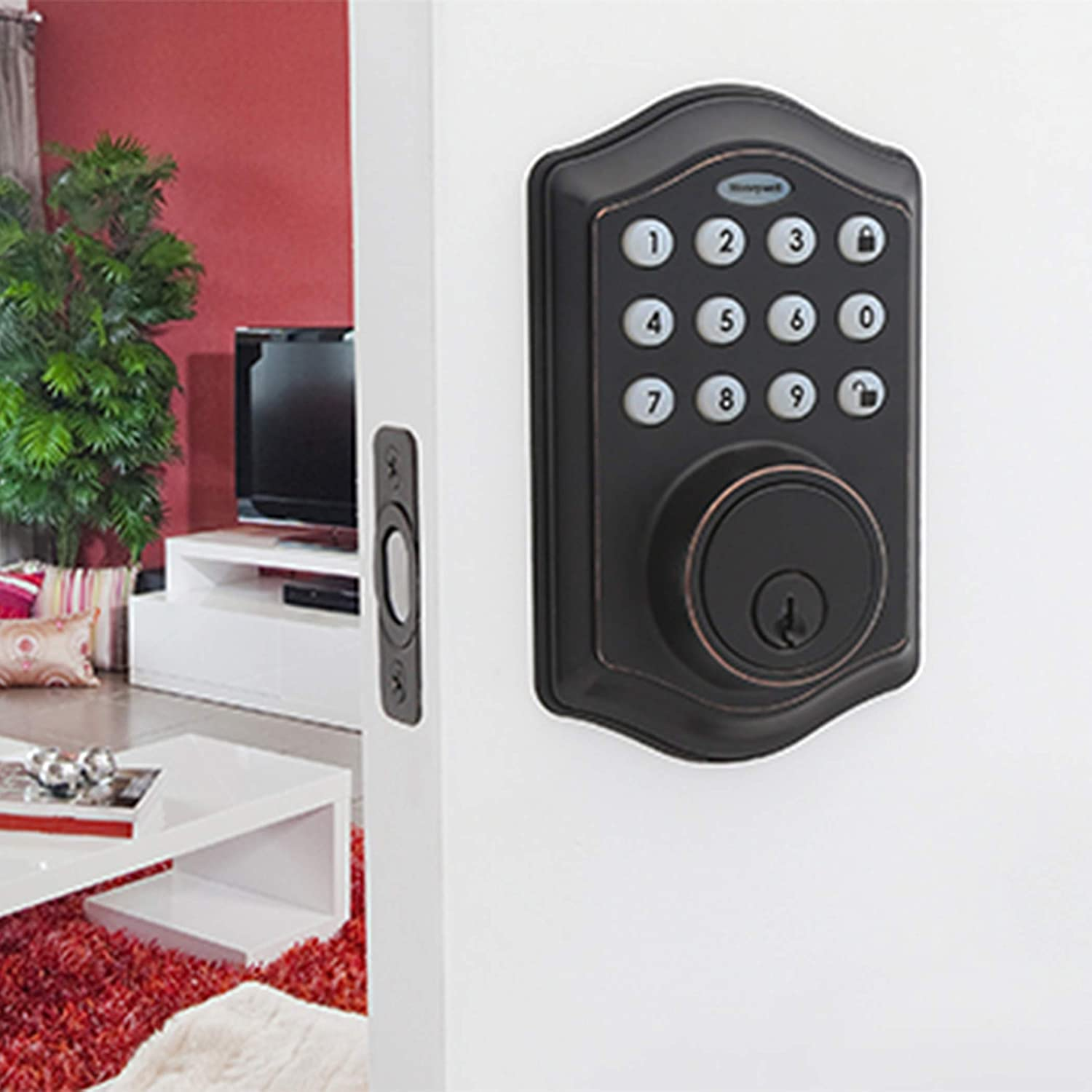 Honeywell Safes Door Locks 8712409 Electronic Entry Deadbolt Security Key Combination Lock Circuits With Keypad Oil Rubbed Bronze
