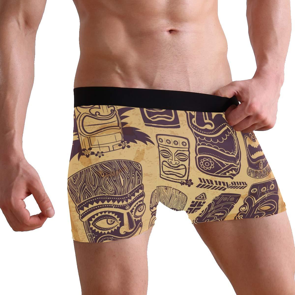 Vintage Aloha Tiki Icons Mens Underwear Soft Polyester Boxer Brief for Men Adult Teen Children Kids S