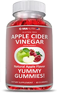 Apple Cider Vinegar Yummy Gummies with The Mother. Boost Energy Metabolism Immunity Detox Weight Loss. Vegan Non-GMO, Made in The USA.