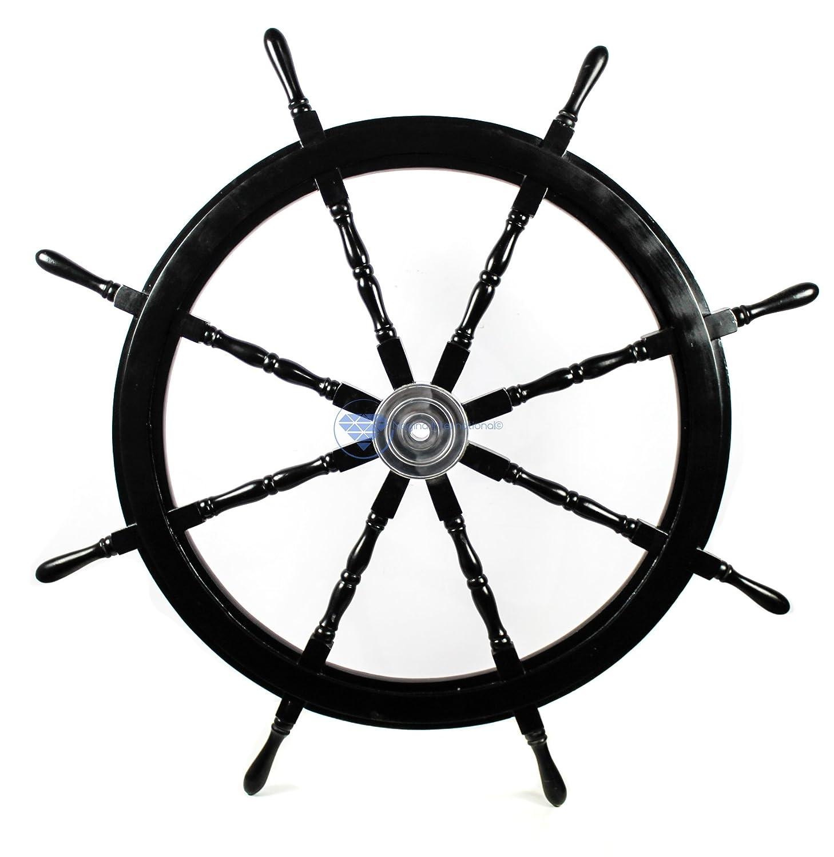 (ナジャイナインターナショナル) Nagina International ハンドクラフト木製操舵輪 家庭装飾用 60 Inches NWH60BL B06XKW5R28 60 Inches|ブラック ブラック 60 Inches