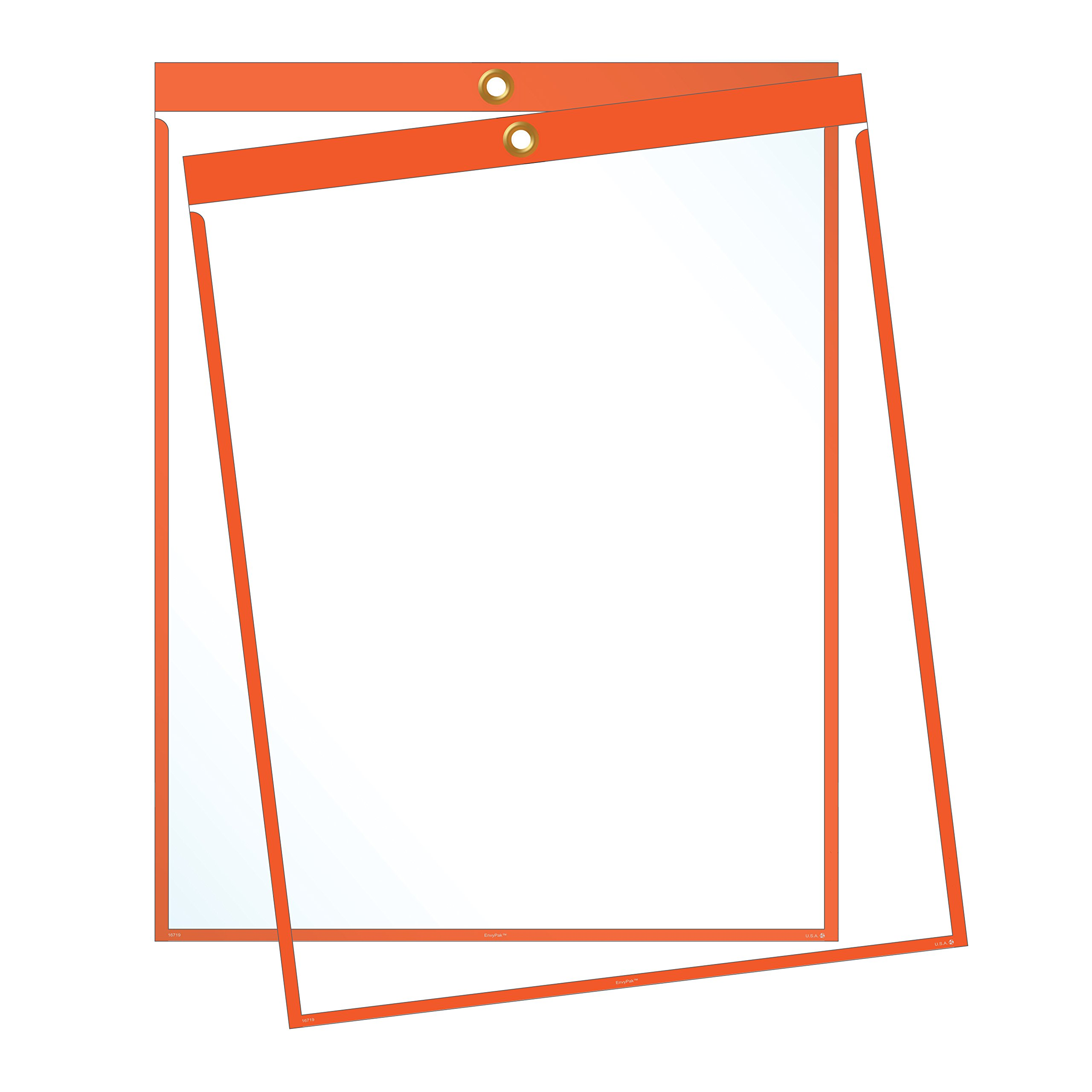 Job Ticket Holders - 9''x12'' - Pack of 30 (orange) Top-loading with eyelet for hanging