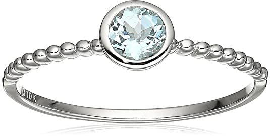 10k White Gold Aquamarine Round Solitaire Beaded Shank Ring by Amazon Collection