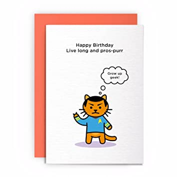 Birthday Cards Star Trek Spock Cat Happy Live Long And PROS Purr Grow UP