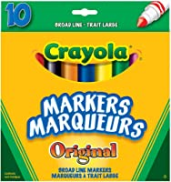 Crayola 10 Broad Line Markers Original, School and Craft Supplies, Drawing Gift for Boys and Girls, Kids, Teens Ages 5,...