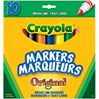 Crayola 10 Broad Line Markers Original, School and Craft Supplies, Drawing Gift for Boys and Girls, Kids, Teens Ages 5, 6,7, 8 and Up, Holiday Toys, Stocking , Arts and Crafts,  Gifting