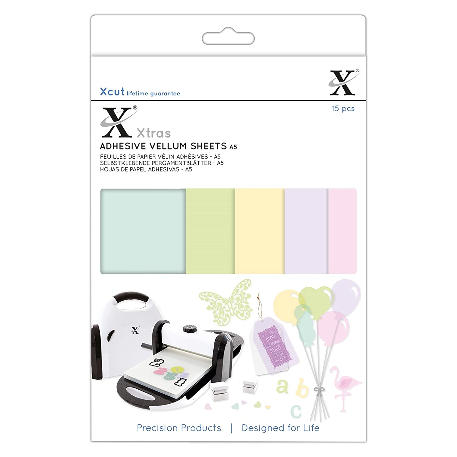 Xcut xtras a5 premium craft adhseive vellum sheets coloured 15 pack amazon co uk kitchen home