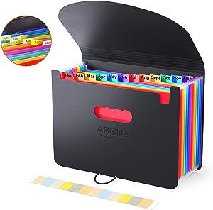 Accordian File Organizer, Expanding File Folder with Expandable Cover/Portable A4 Letter Size Filling Box, 12 Pockets Desktop Accordion Folder, Plastic Paper Document Coupon Organizer Colored Labels