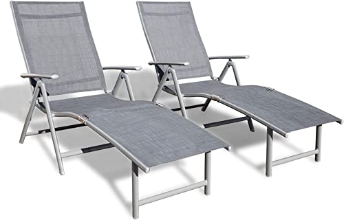 Kozyard Cozy Aluminum Beach Yard Pool Folding Reclining 7 Adjustable Chaise Lounge Chair 2 Pack, Gray