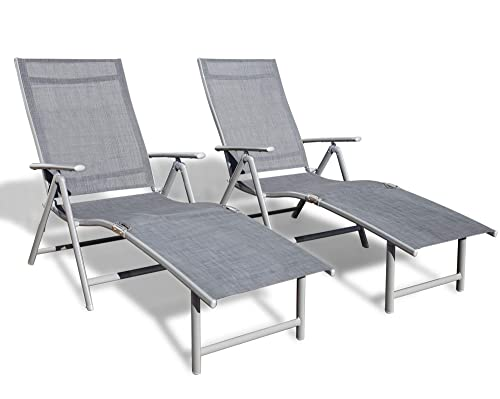 Kozyard Cozy Aluminum Beach Yard Pool Folding Reclining Adjustable Chaise Lounge Chair 2, Gray