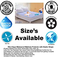 Rite Clique Hypoalergenic Waterproof Mattress Protector, Mattress Cover, Bed Spread with Elastic Straps