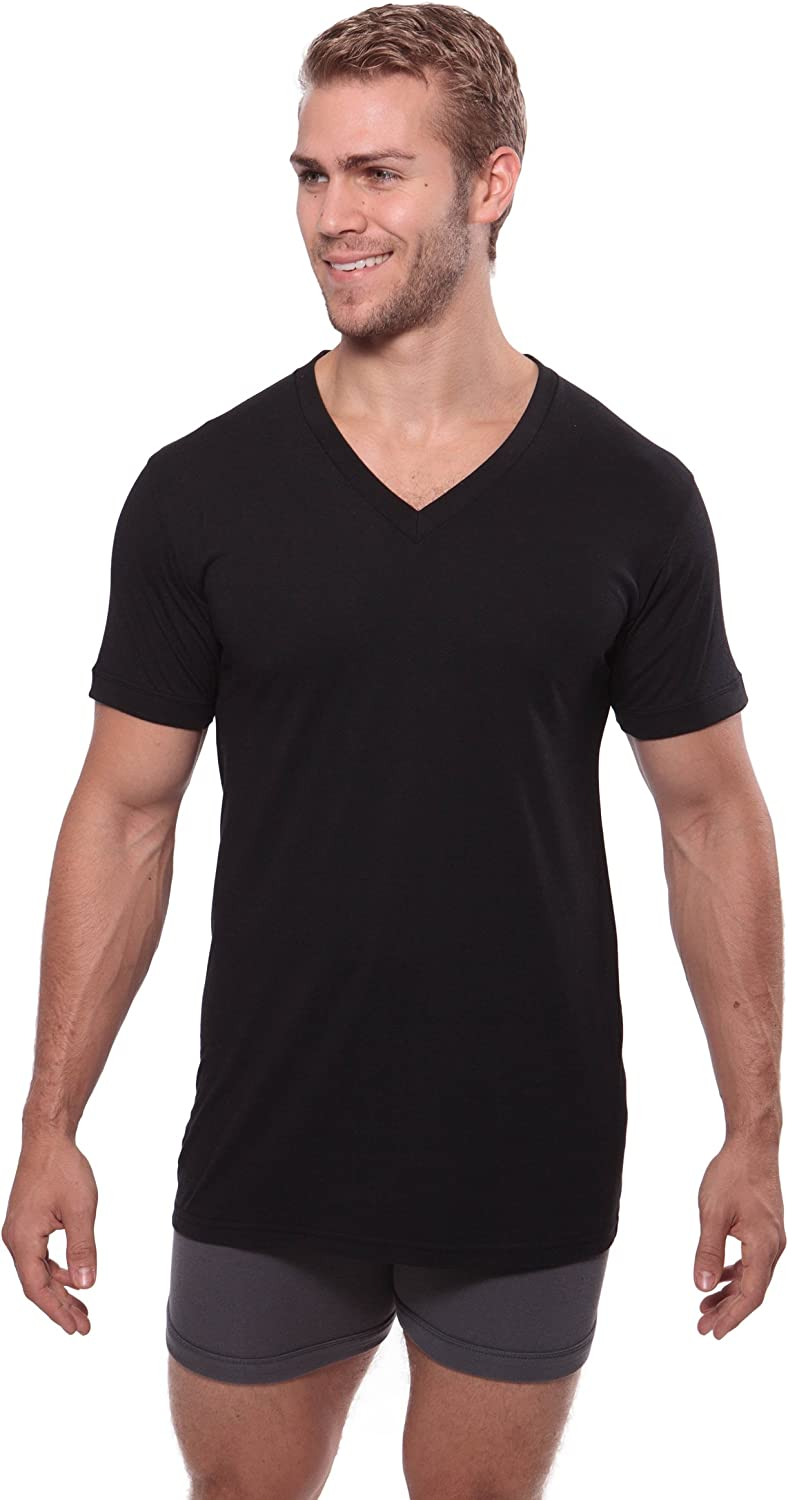 Best Lounge Wear for Him Meio, Black, ST Texere Mens V-Neck Luxury Undershirt