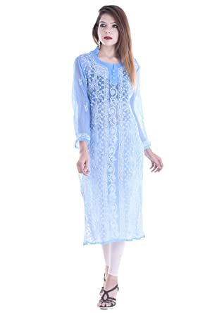0a93001f41 APRATIM Women's Georgette Kurta (Blue, X-Large): Amazon.in: Clothing ...