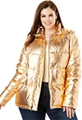 9c805f80a22 Roamans Women s Plus Size Metallic Ultimate Puffer Jacket