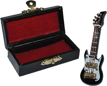 Bassgitarre mit Kasten schwarz weiß e Miniatur E-Gitarre Holz Maßstab 1:12