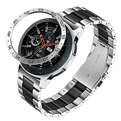 Galaxy Watch 46mm / Gear S3 Band + Bezel, TRUMiRR 22mm Solid Stainless Steel Watchband & Bezel Ring Quick Release Strap Bracelet for Samsung Galaxy ...