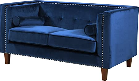 Container Furniture Direct S5369 S Kittleson Velvet Upholstered Modern Chesterfield Sofa With Nailhead Trim Blue Amazon Co Uk Kitchen Home