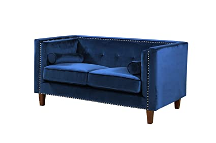 Container Furniture Direct S5369-S Kittleson Velvet Upholstered Modern  Chesterfield Sofa with Nailhead Trim, Blue