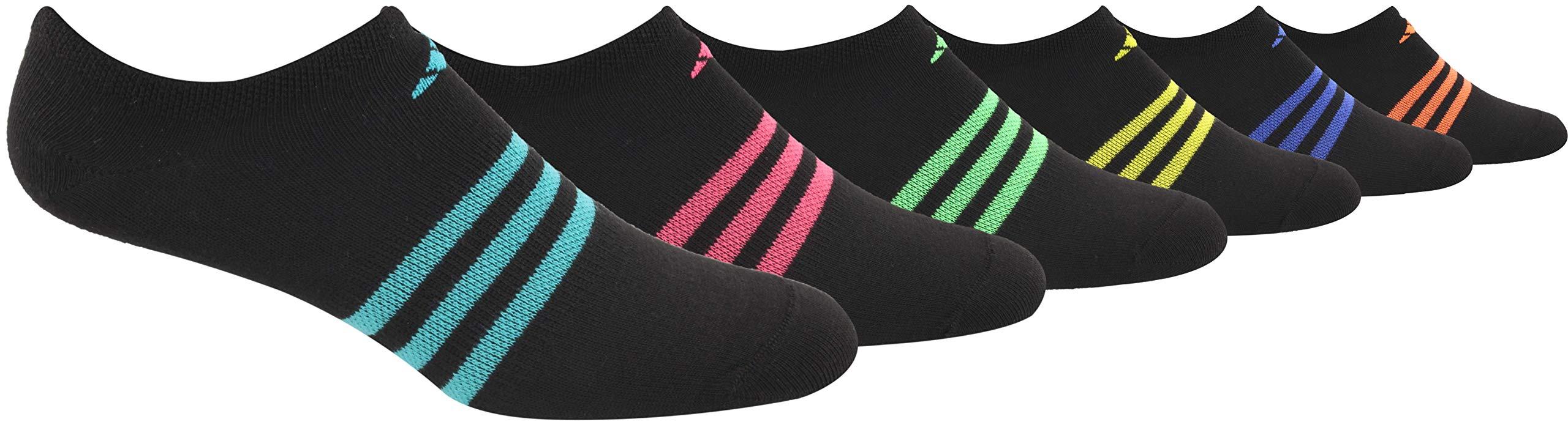 adidas Women's Superlite No Show Socks (6-Pair), Black/Hi - Res Aqua Green/Real Pink/Shock Lime Green, Medium, (Shoe Size 5-10) by adidas
