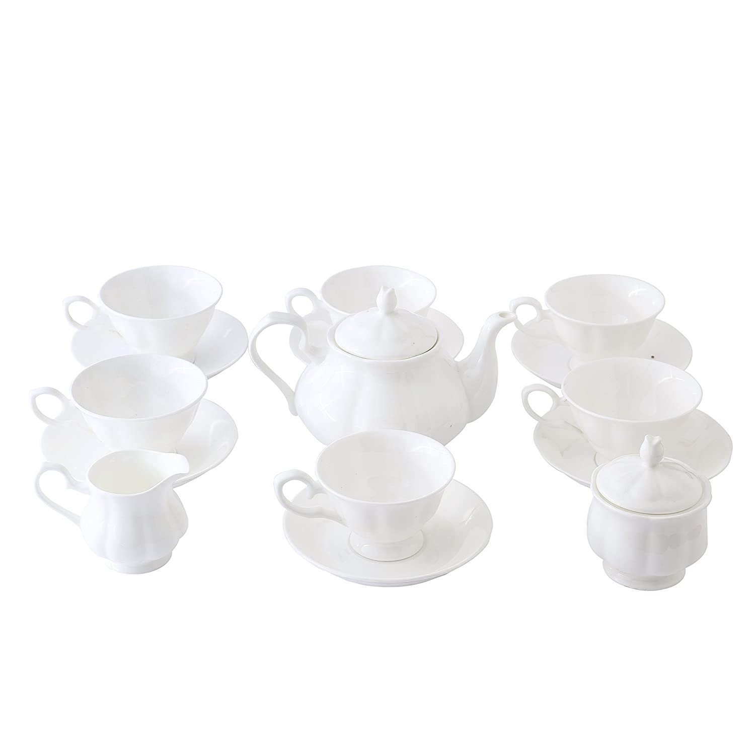 15 Piece European Classical Bone China Tea Set,Jingdezhen Pure White Coffee Tea Sets,For Household,Wedding Ufingo LEPAC10606