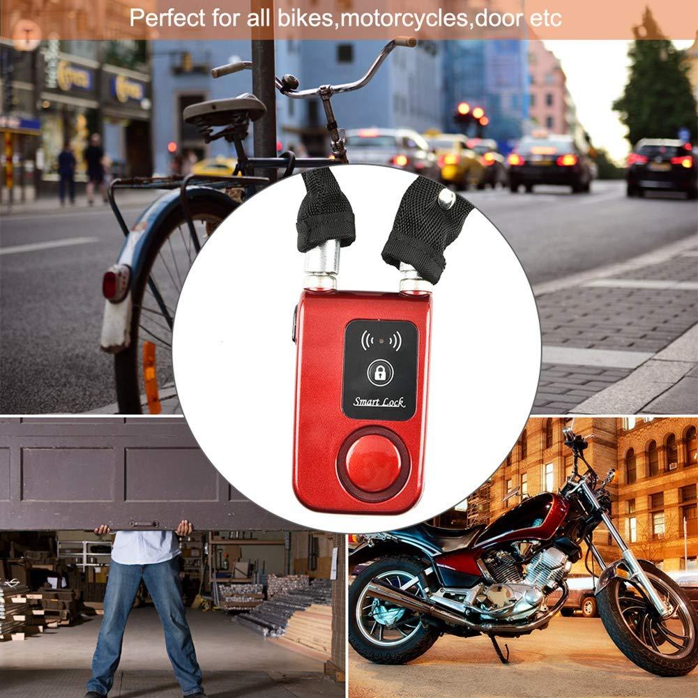 Smart Bluetooth Bicycle Chain Lock 110dB High-Decibel Anti-Theft Alarm Lock Waterproof Anti Cutting Vibration Alarm Suitable for Bikes Motorcycles Door