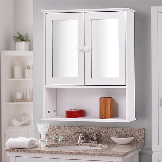 Amazon.com: TANGKULA Bathroom Cabinet Double Mirror Door Wall Mount Wood  Storage Shelf (White): Home U0026 Kitchen