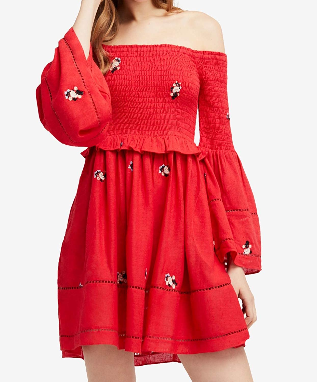 548ce80fff517 Free People Women's Counting Daisies Embroidered Off-The-Shoulder Dress at  Amazon Women's Clothing store: