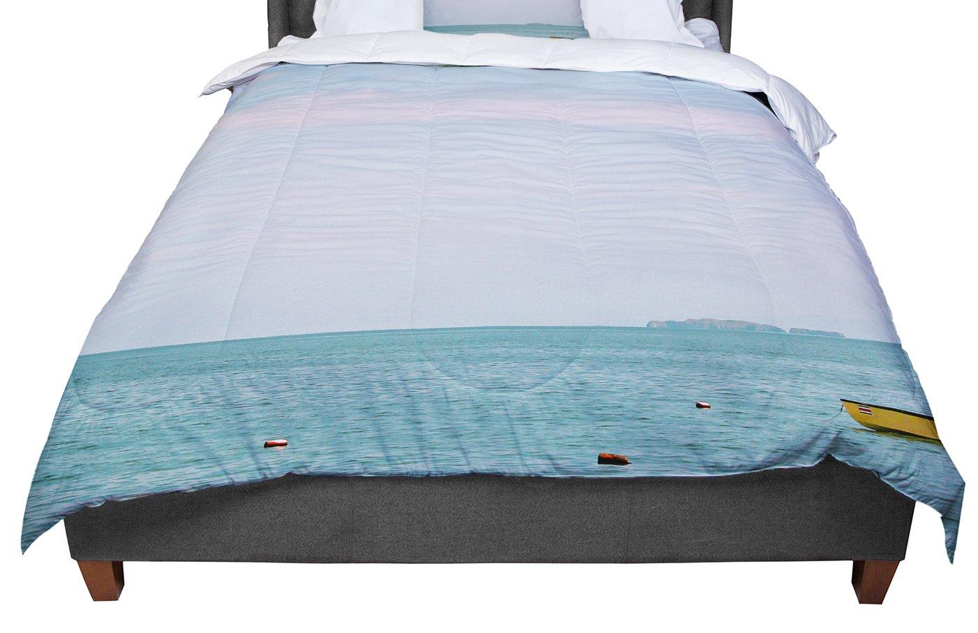 KESS InHouse Ann Barnes Castaway Teal Coastal Queen Comforter 88 X 88